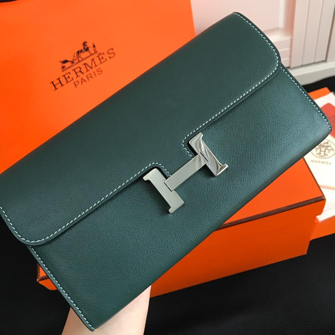 Top Replica HERMES Constance Long Wallet Gris Asphalt Epsom Blue with Silver-Tone Metal