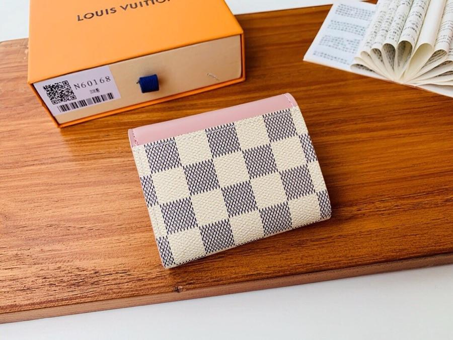 Top Replica Louis Vuitton N60168 Zoe Wallet Damier Azur Canvas Eau de Rose