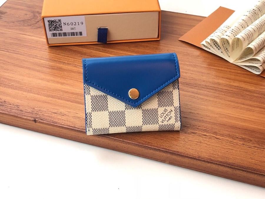 Top Replica Louis Vuitton N60219 Zoe Wallet Damier Azur Canvas Bleuet