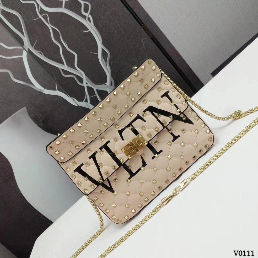 Valentino Garavani Rockstud Spike Medium Chain Bag Beige