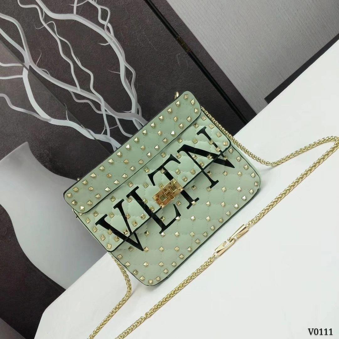 Valentino Garavani Rockstud Spike Medium Chain Bag Green