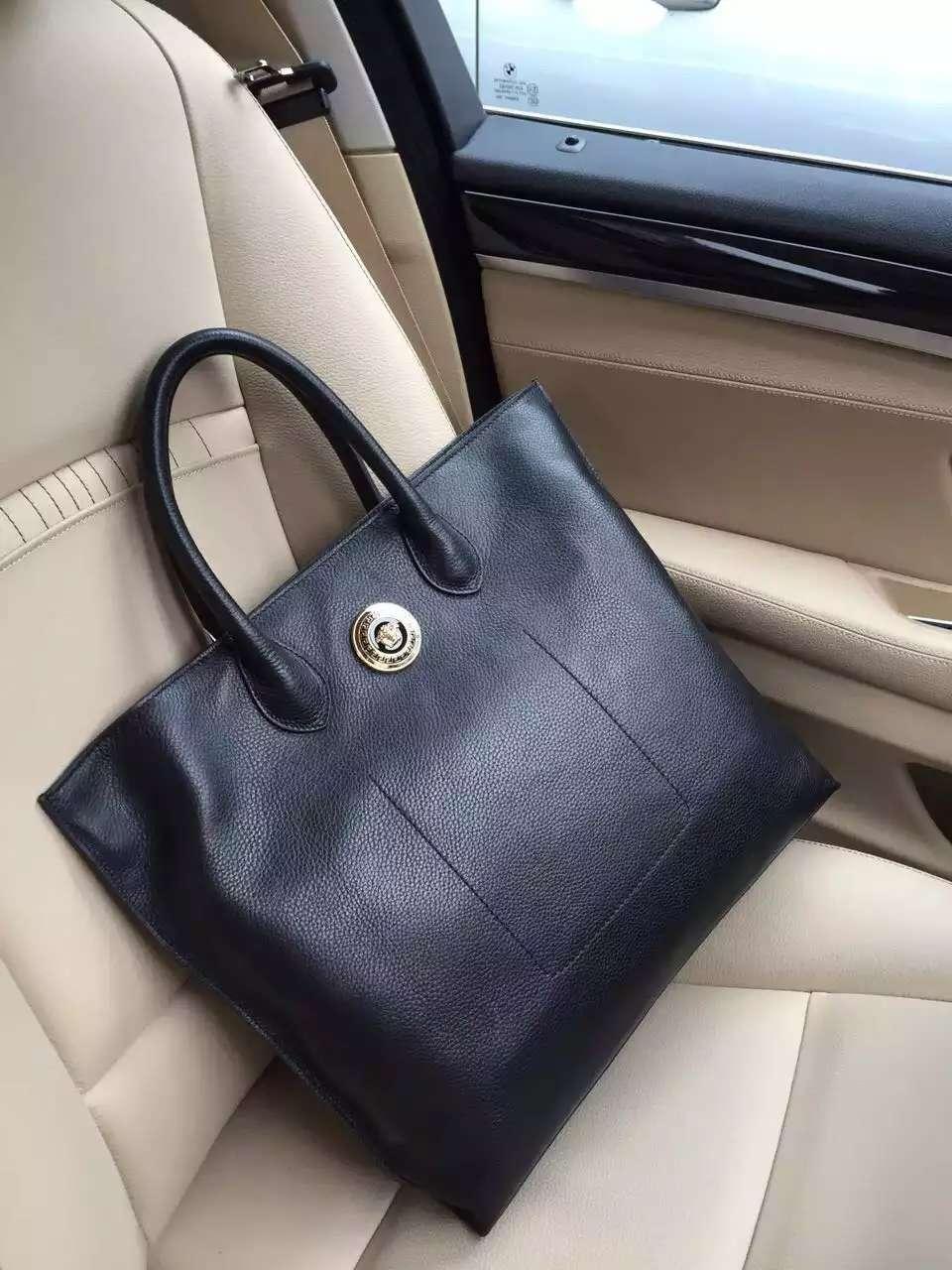 Versace 0132-1 Men Leather Briefcase Bag Black