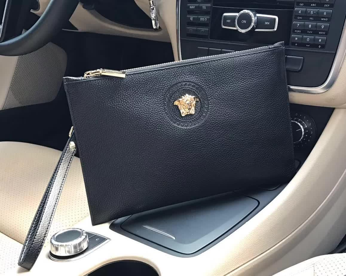 Versace 0153-5 Leather Men Clutch Bag Black