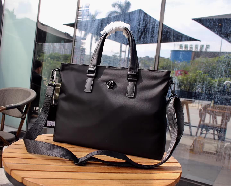 Versace 0292-1 Men Leather Briefcase Bag Black