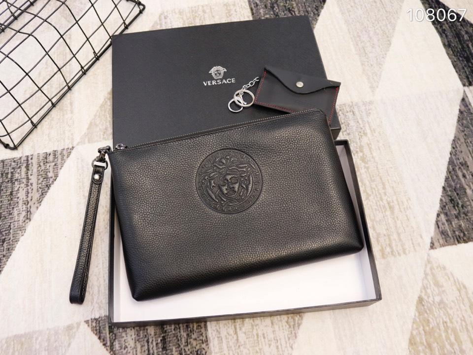 Versace 108067 Men Leather Zipper Clutch Bag Black