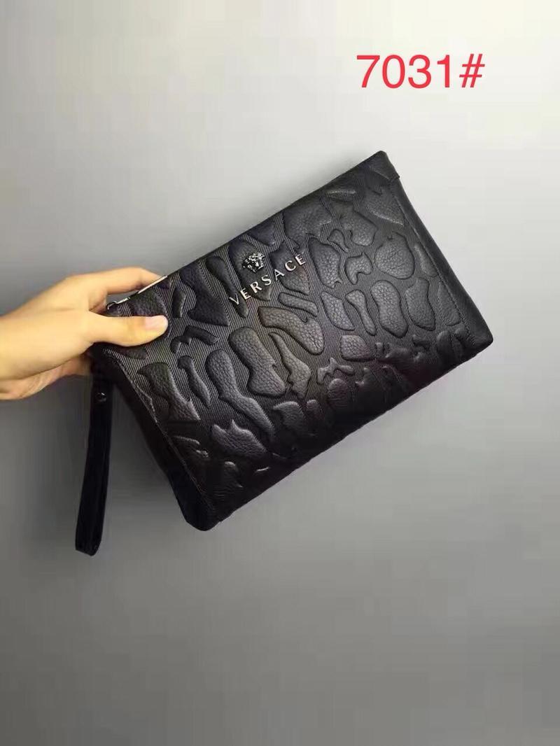 Versace 7031 Men Leather Zipper Clutch Bag Black