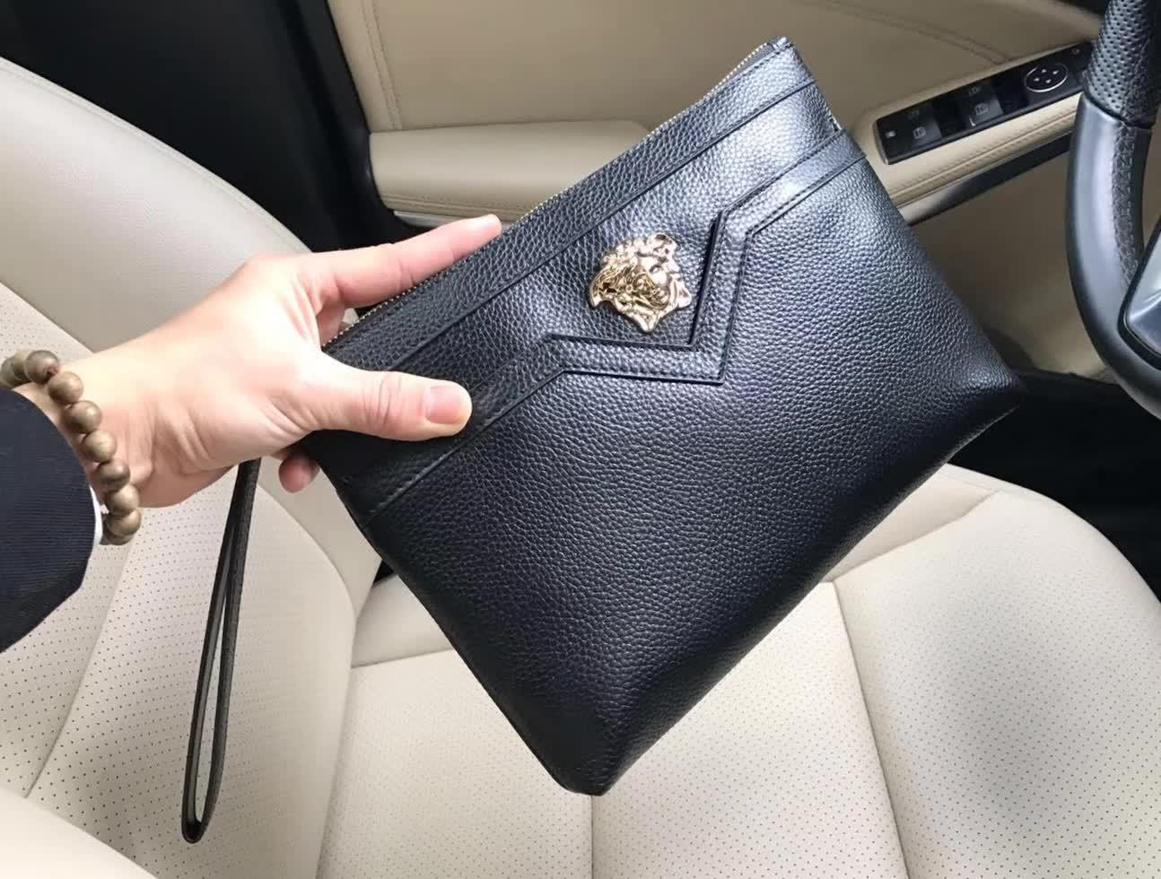 Versace 9003-5 Leather Men Clutch Bag Black