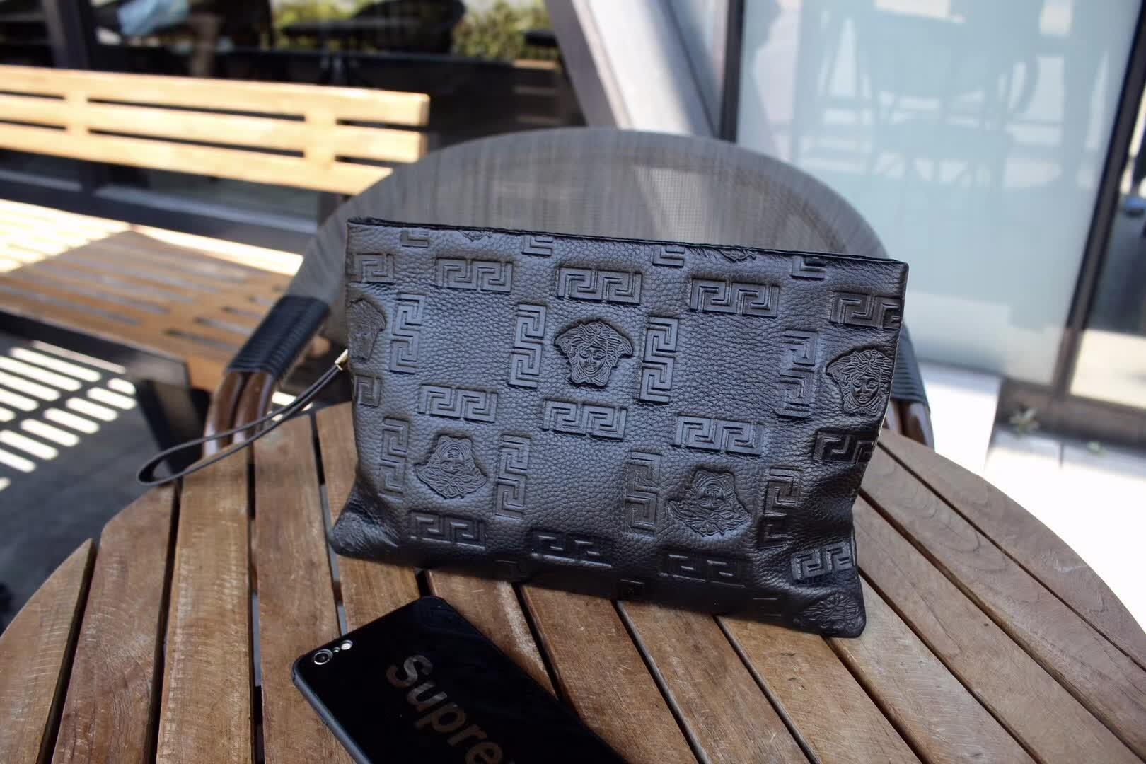 Versace K33029 Men Leather Zipper Clutch Bag Black