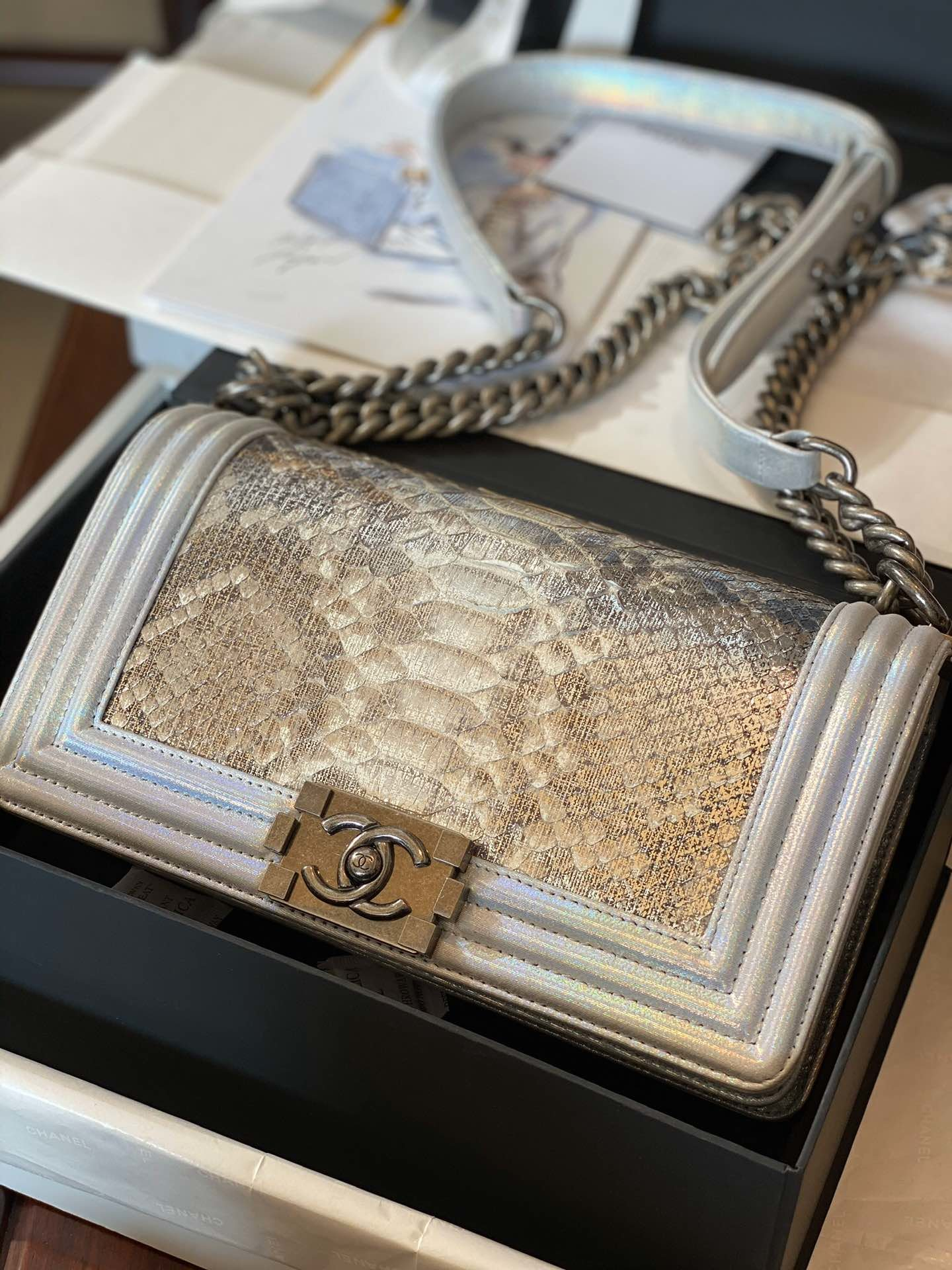 Replica Boy Chanel Bag South African Python Skin with Imported Sheepskin 002
