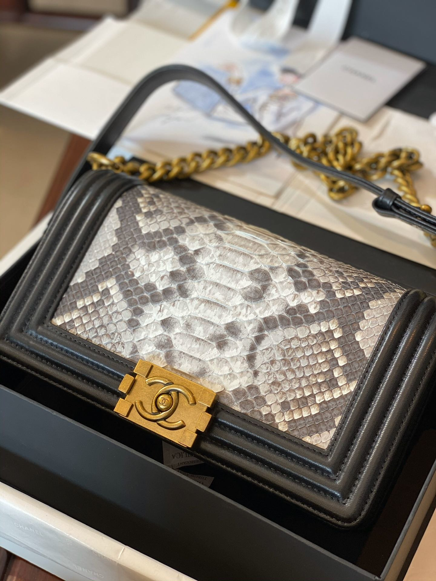 Replica Boy Chanel Bag South African Python Skin with Imported Sheepskin Gold-Tone Metal 001