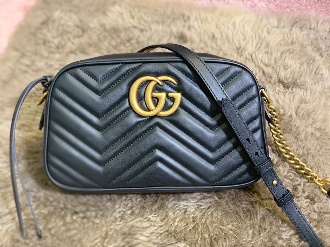 1-1 Replica Gucci 447632 GG Marmont Small Matelasse Shoulder Bag Black