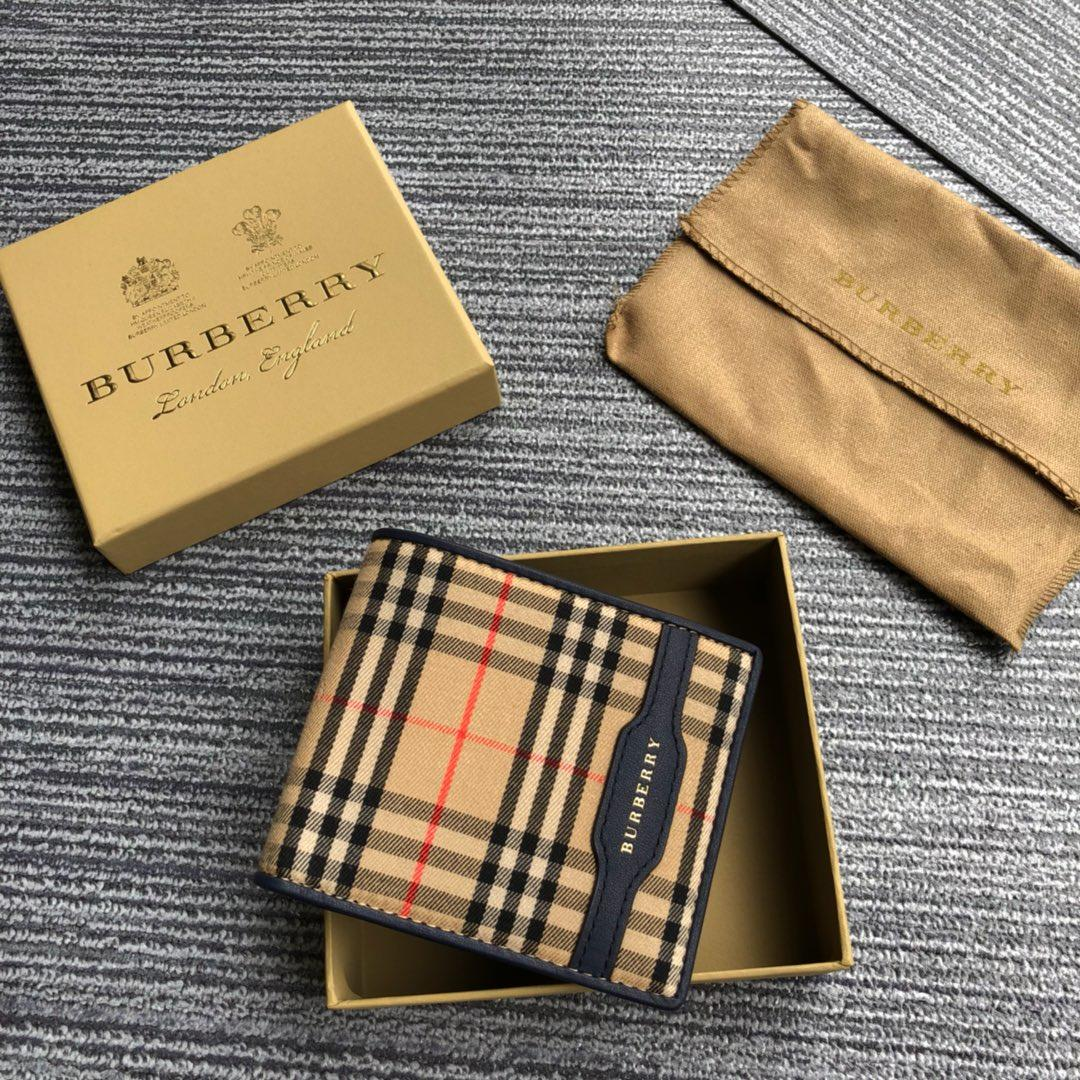 2018 NEW Replica Burberry Men Check and Leather Wallet Blue