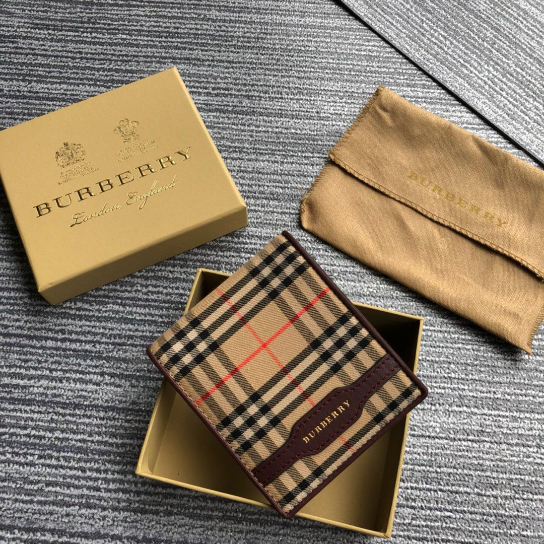 2018 NEW Replica Burberry Men Check and Leather Wallet Brown