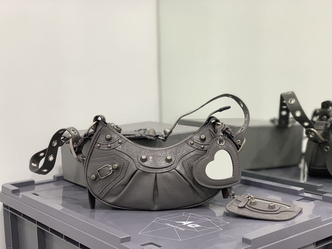 2021 Balenciaga Womens Le Cagole Small Shoulder Bag in Gray Arena Lambskin and aged Silver Hardware