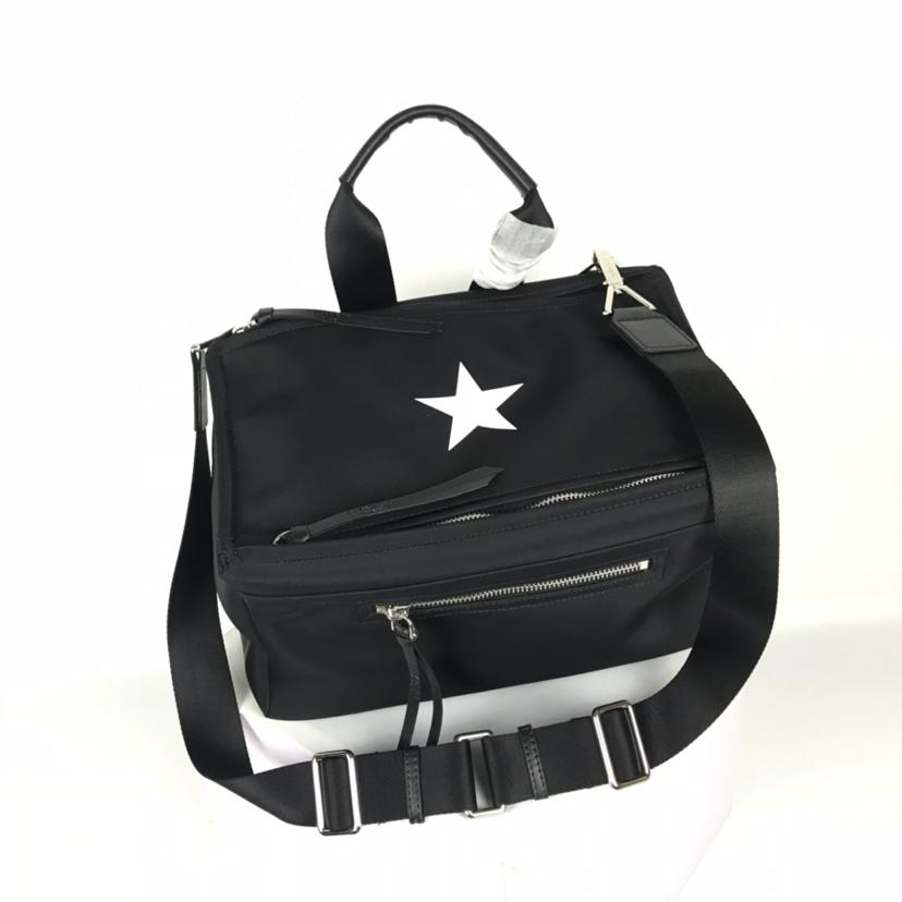 AAA Givenchy Men Blurred Stars Pandora Messenger Bag Black Leather