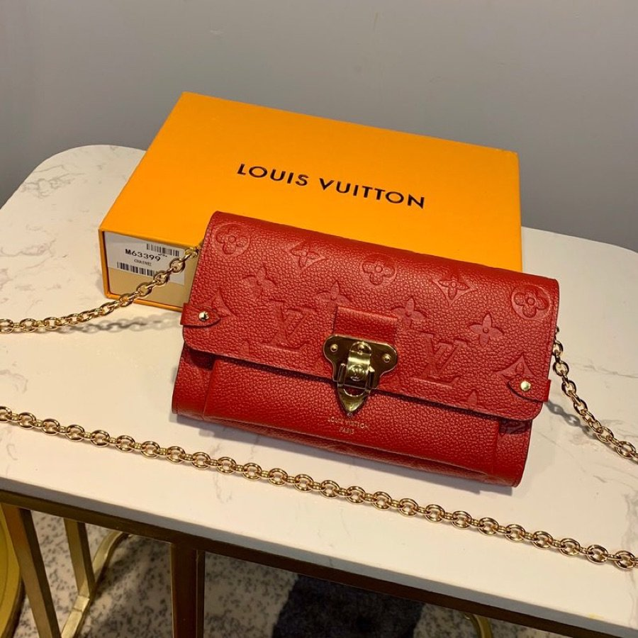 AAA Louis Vuitton M63399 Vavin Chain Wallet in Soft Monogram Empreinte Leather Red