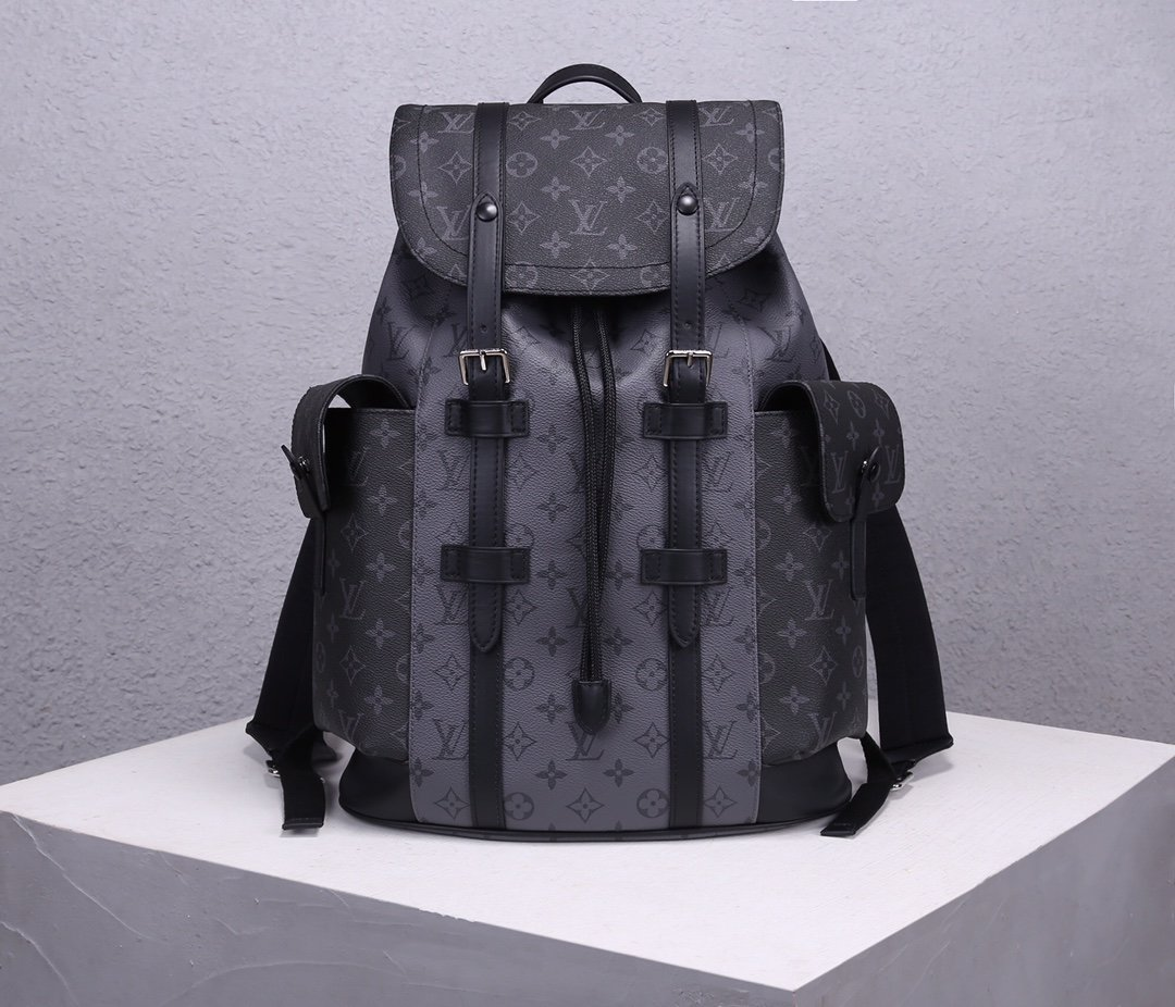 AAA Replica Louis Vuitton M45419 Mens Christopher PM Backpack Monogram Eclipse Canvas and Monogram Eclipse Reverse Canvas with Black Leather