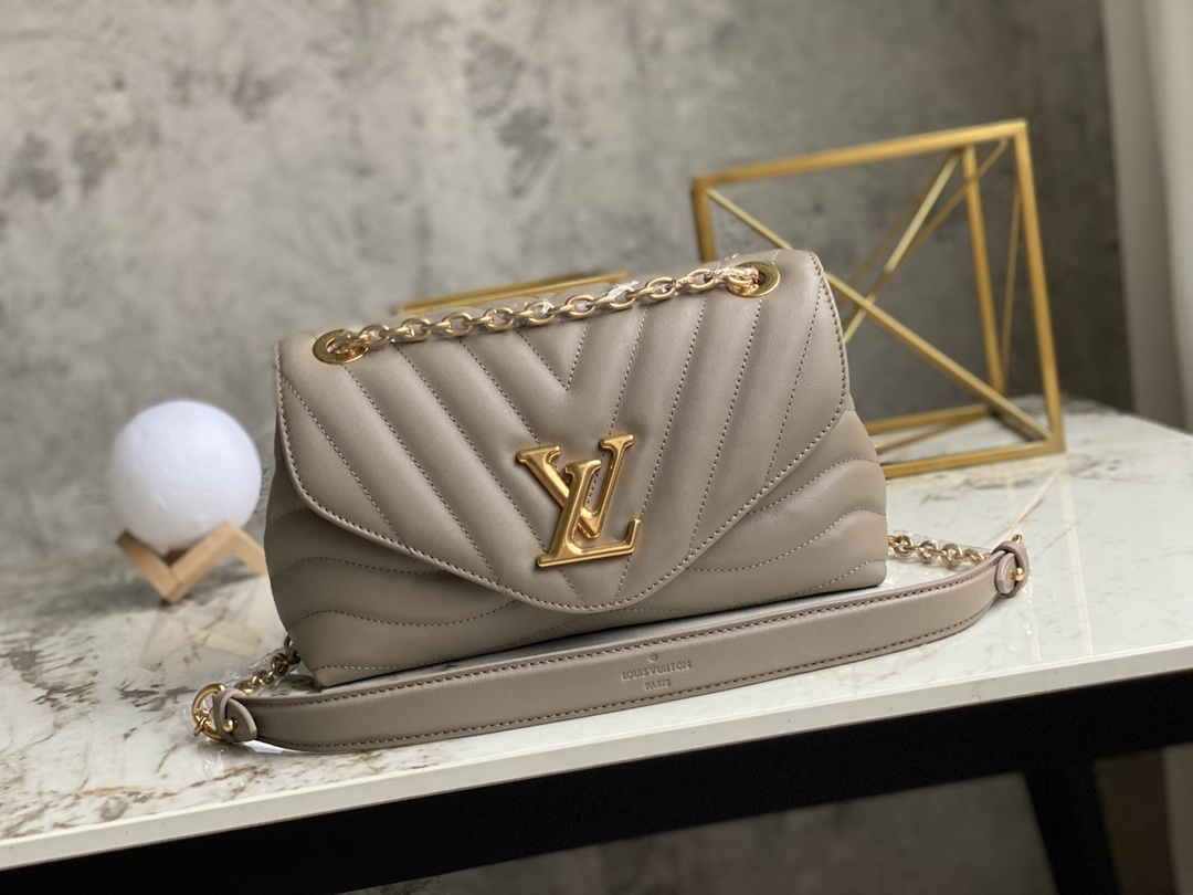 AAA Replica Louis Vuitton M58550 LV New Wave Chain Bag Smooth Cowhide Leather Dark Taupe