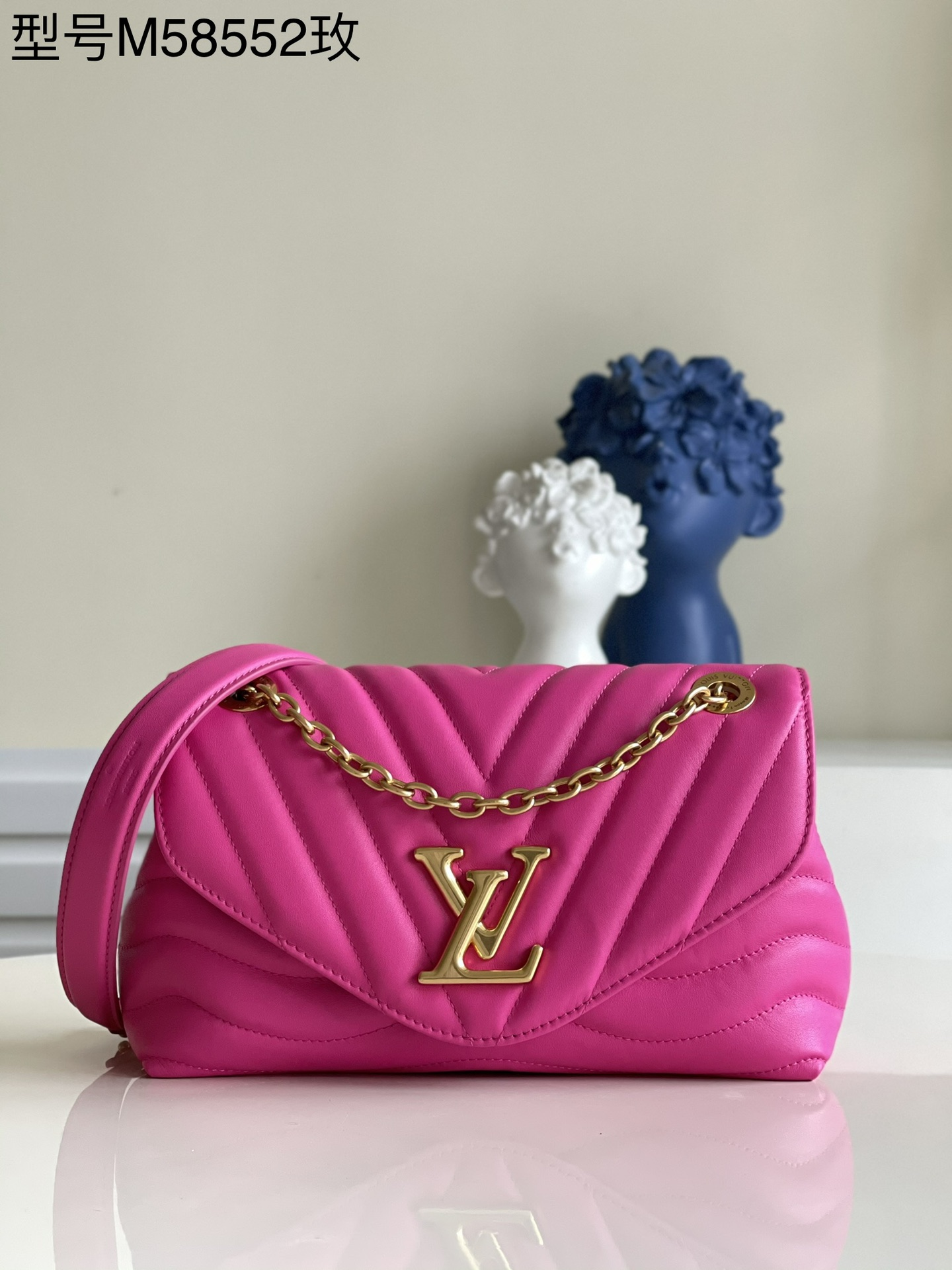 AAA Replica Louis Vuitton M58553 LV New Wave Chain Bag Smooth Cowhide Leather Agathe Pink