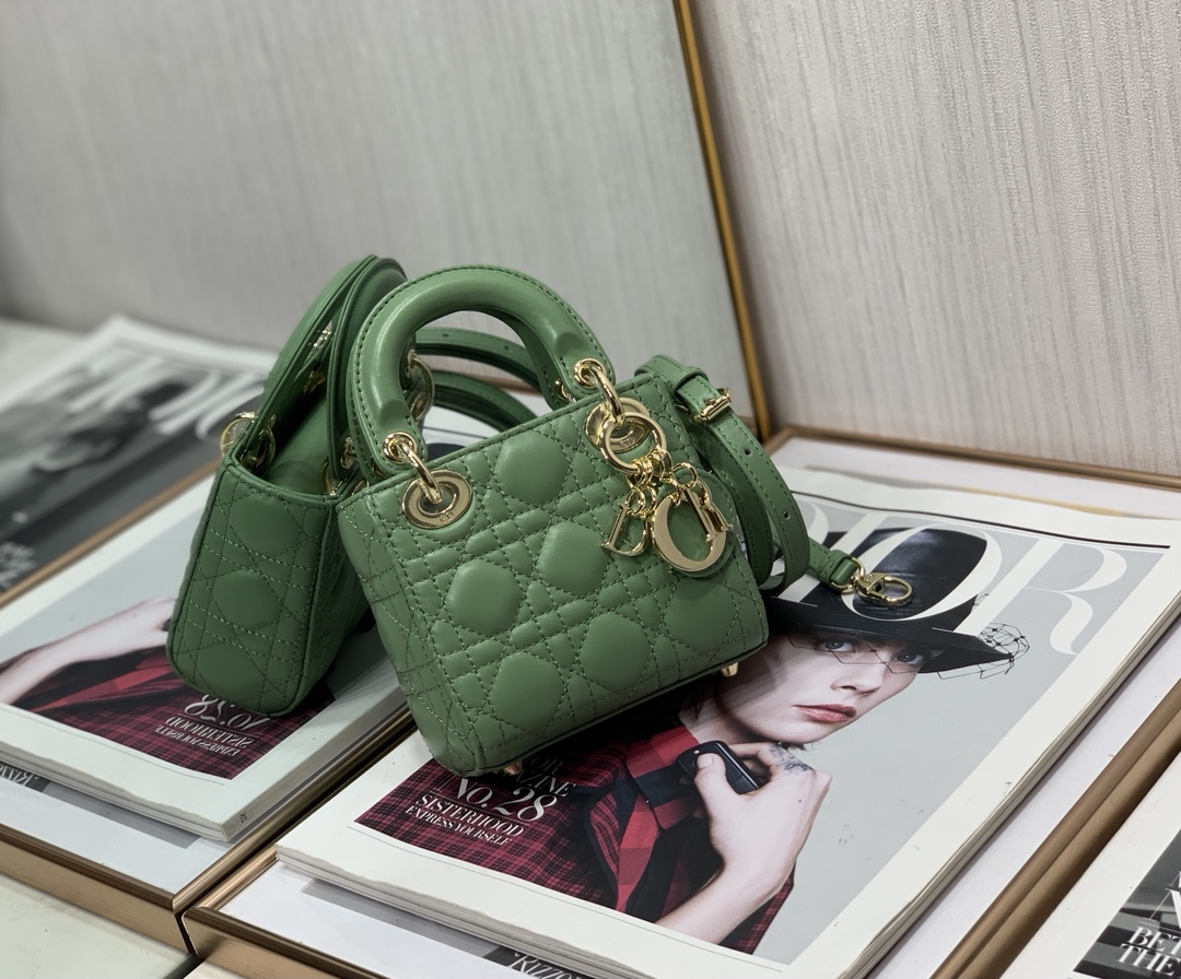 Best Copy Micro Lady Dior Bag Green Cannage Lambskin