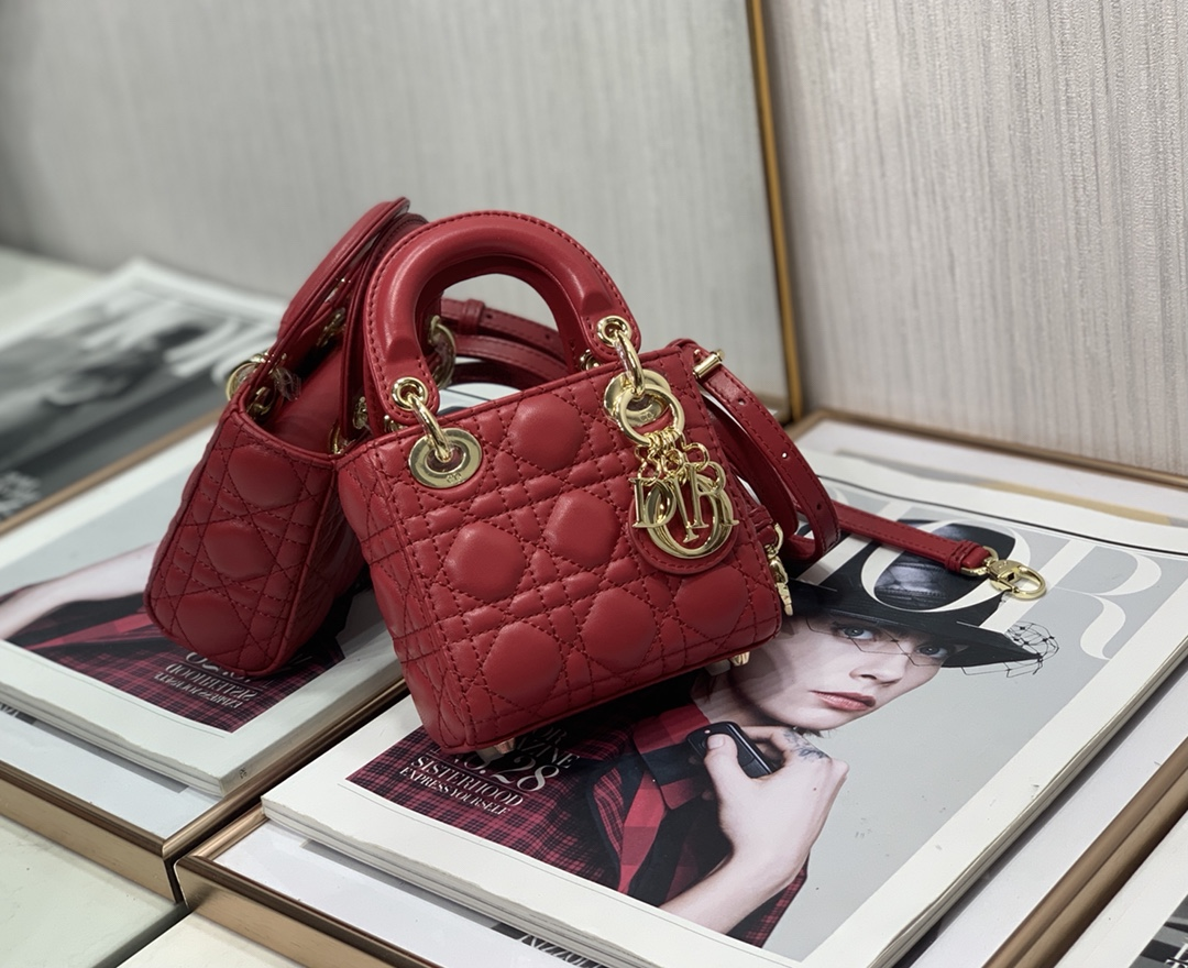 Best Copy Micro Lady Dior Bag Red Cannage Lambskin
