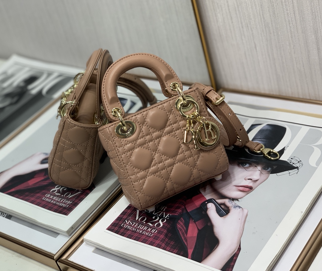 Best Copy Micro Lady Dior Bag Rose Des Vents Cannage Lambskin