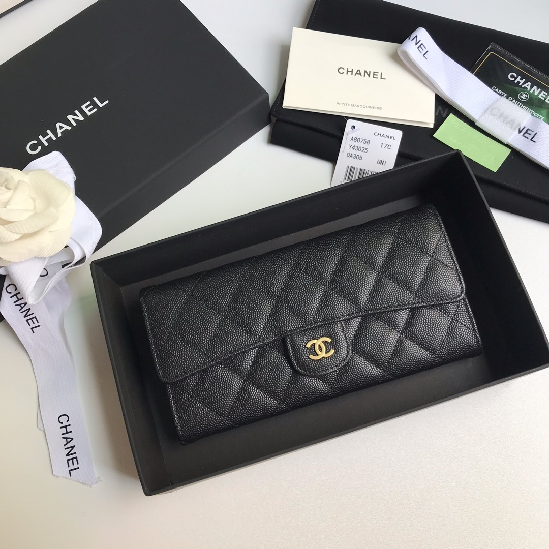 Best Price Chanel A80758 Classics Flap Long Wallet Grained Calfskin Black