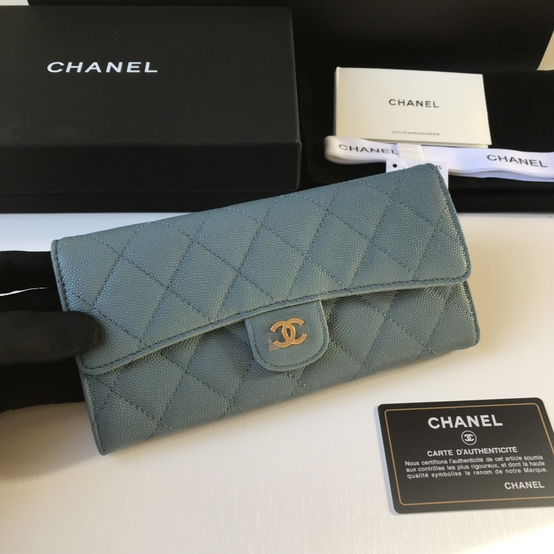 Best Price Chanel A80758 Classics Flap Long Wallet Grained Calfskin Blue