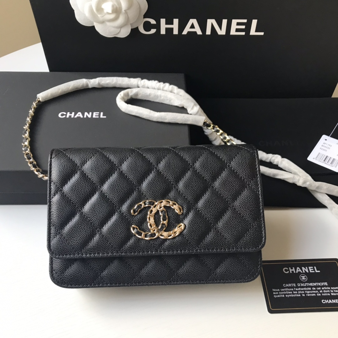 Best Price Chanel AP1794 Flap Bag Grained Calfskin Black