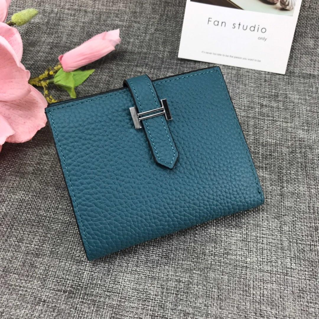 Best Price H5120 Hermes Bearn Short Wallet in Epsom Calfskin Blue