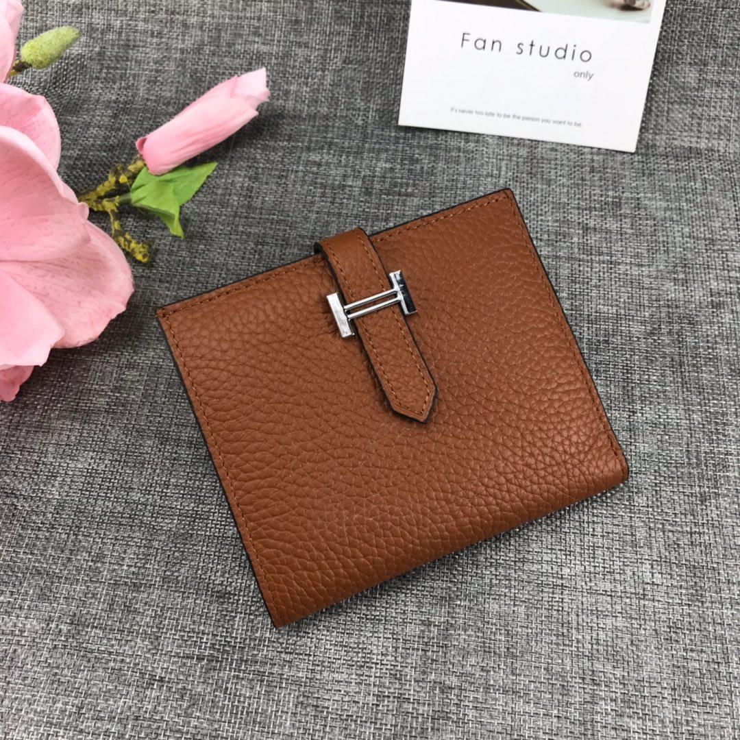 Best Price H5120 Hermes Bearn Short Wallet in Epsom Calfskin Coffee