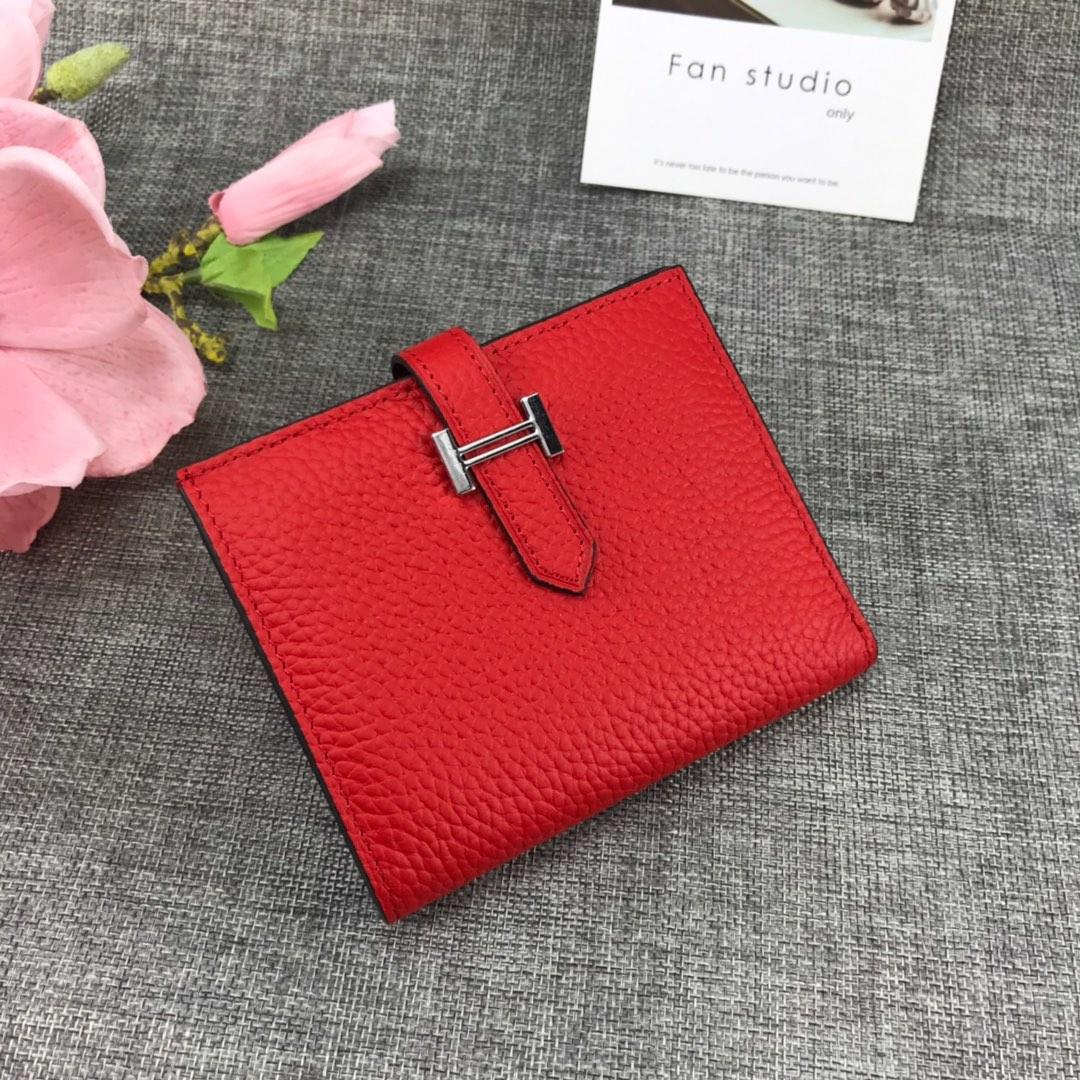 Best Price H5120 Hermes Bearn Short Wallet in Epsom Calfskin Red