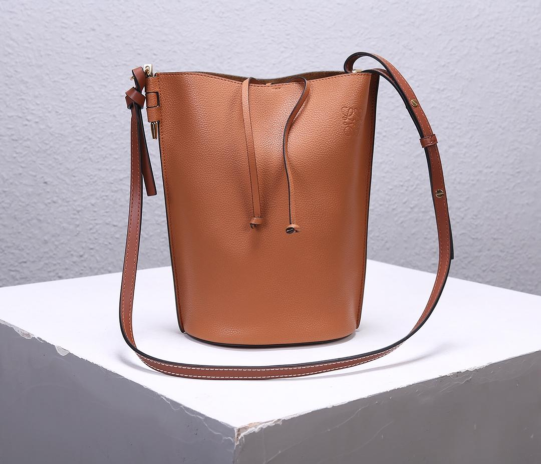 Best Price Loewe Women Gate Bucket Bag Forest Coffee