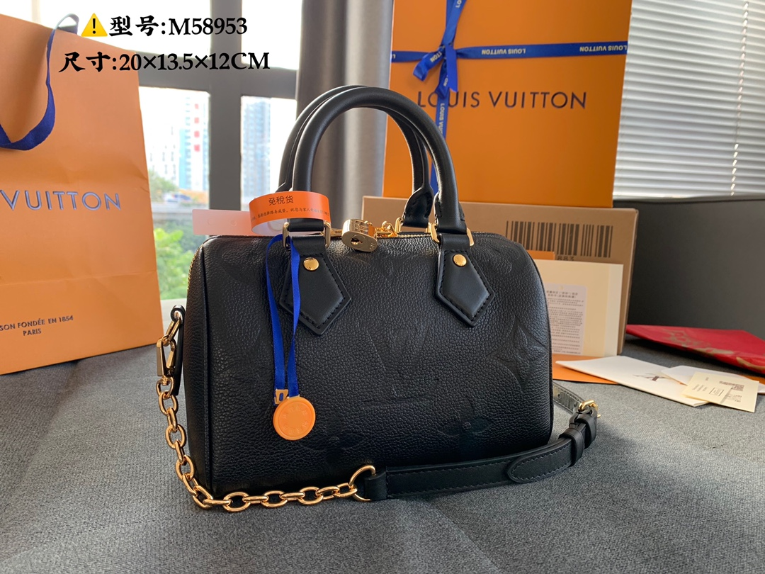 Best Selling Louis Vuittion M58593 Speedy Bandouliere 20 Compact Handbag Black Embossed Grained Cowhide Leather
