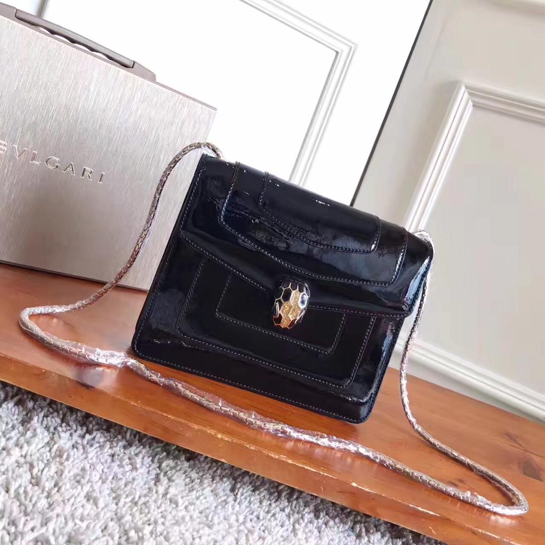 Bulgari Serpenti Forever Flap Cover Bag Metallic Calf Leather Black