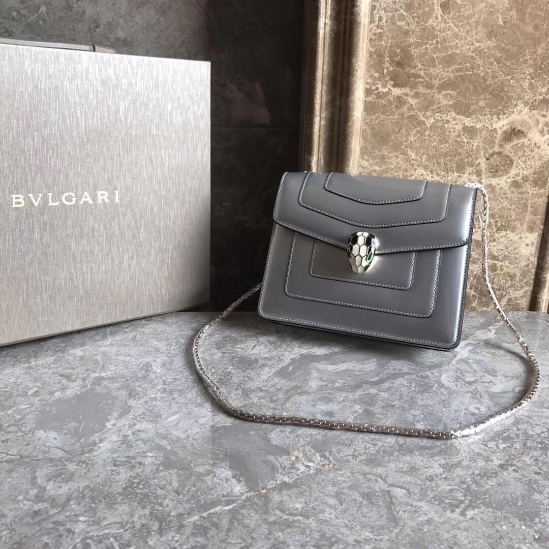 Bulgari Serpenti Forever Flap Cover Bag Metallic Calf Leather Grey