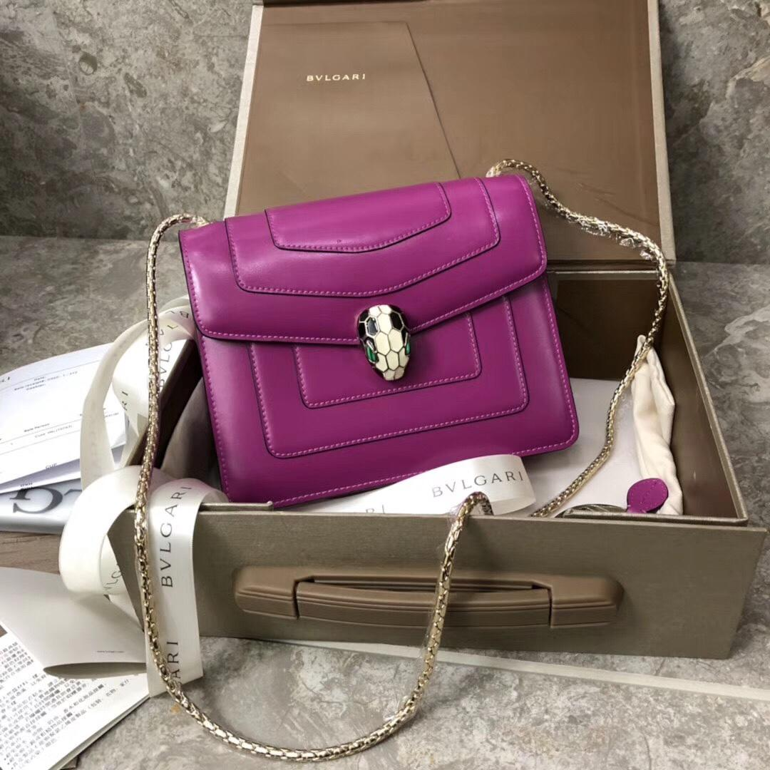 Bulgari Serpenti Forever Flap Cover Bag Metallic Calf Leather Purple