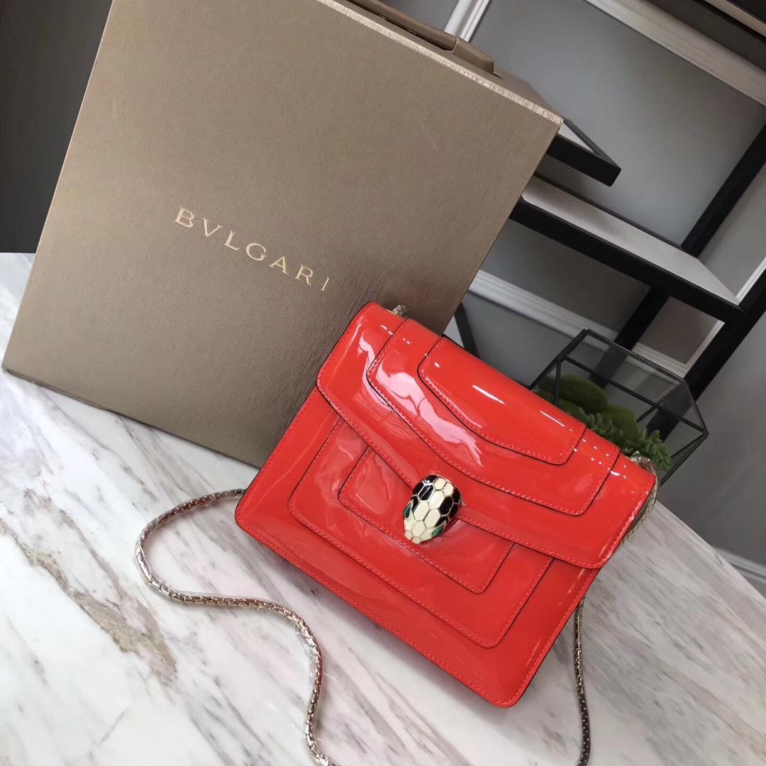 Bulgari Serpenti Forever Flap Cover Bag Metallic Calf Leather Red