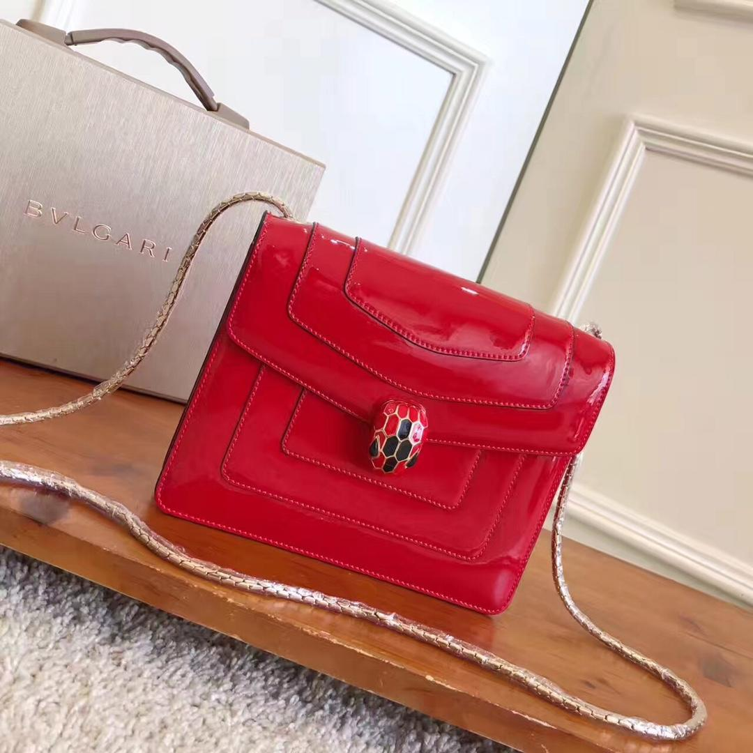 Bulgari Serpenti Forever Flap Cover Bag Metallic Calf Leather Rose
