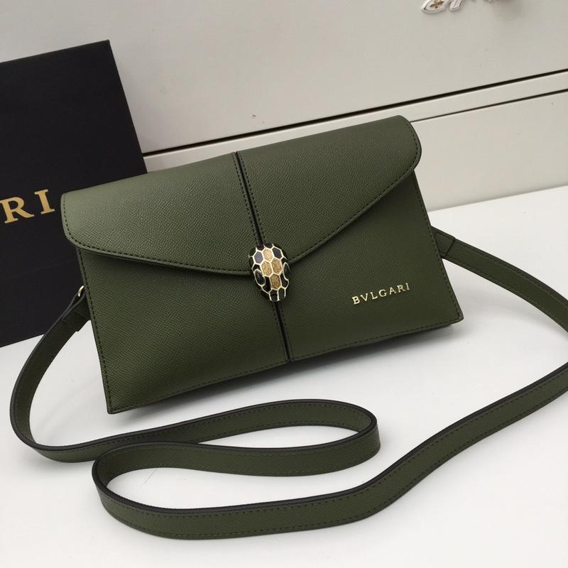 Bvlgari Women Serpenti Snake Head Shoulder Bag Green