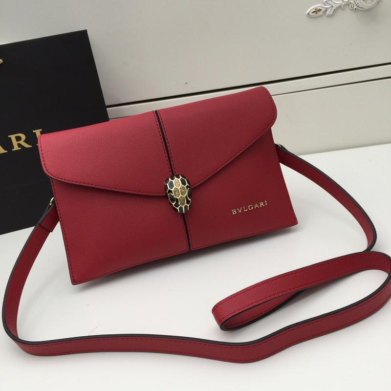 Bvlgari Women Serpenti Snake Head Shoulder Bag Red