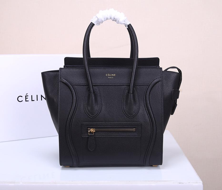 Celine Micro Luggage Handbag In Satinated Natural Calfskin Black