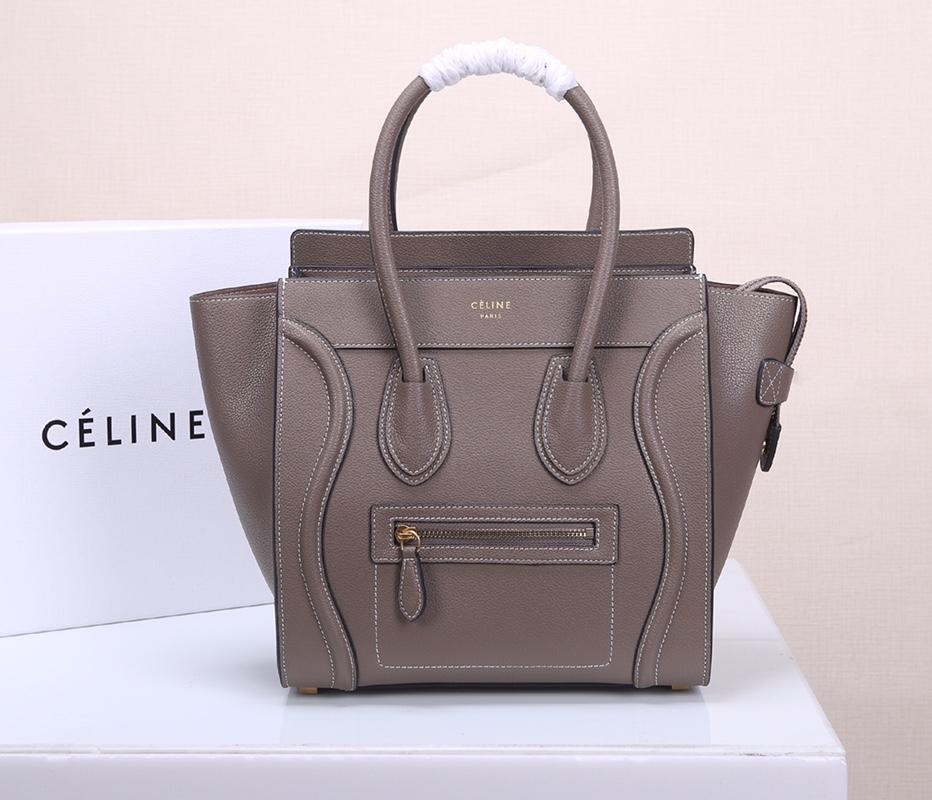 Celine Micro Luggage Handbag In Satinated Natural Calfskin Grey