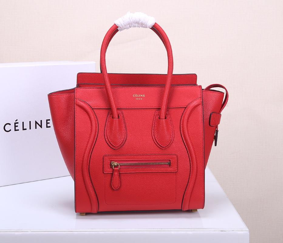 Celine Micro Luggage Handbag In Satinated Natural Calfskin Red