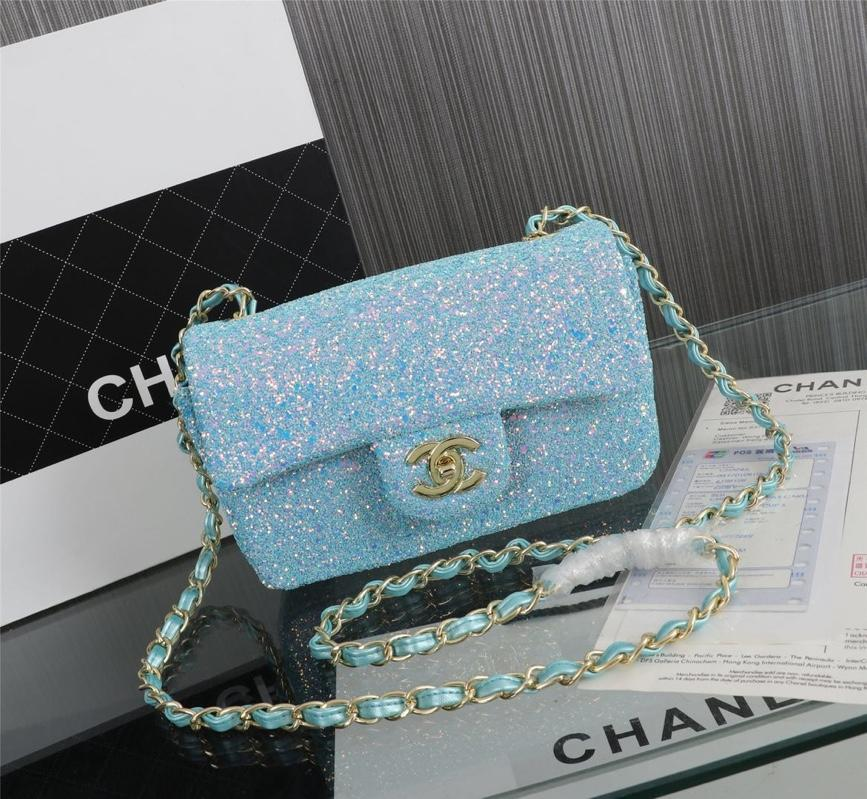 Chanel 1116 Flap Bag Sequins Gold Tone Metal Ligh Blue
