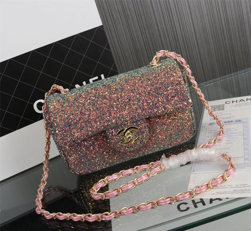 Chanel 1116 Flap Bag Sequins Gold Tone Metal Pink