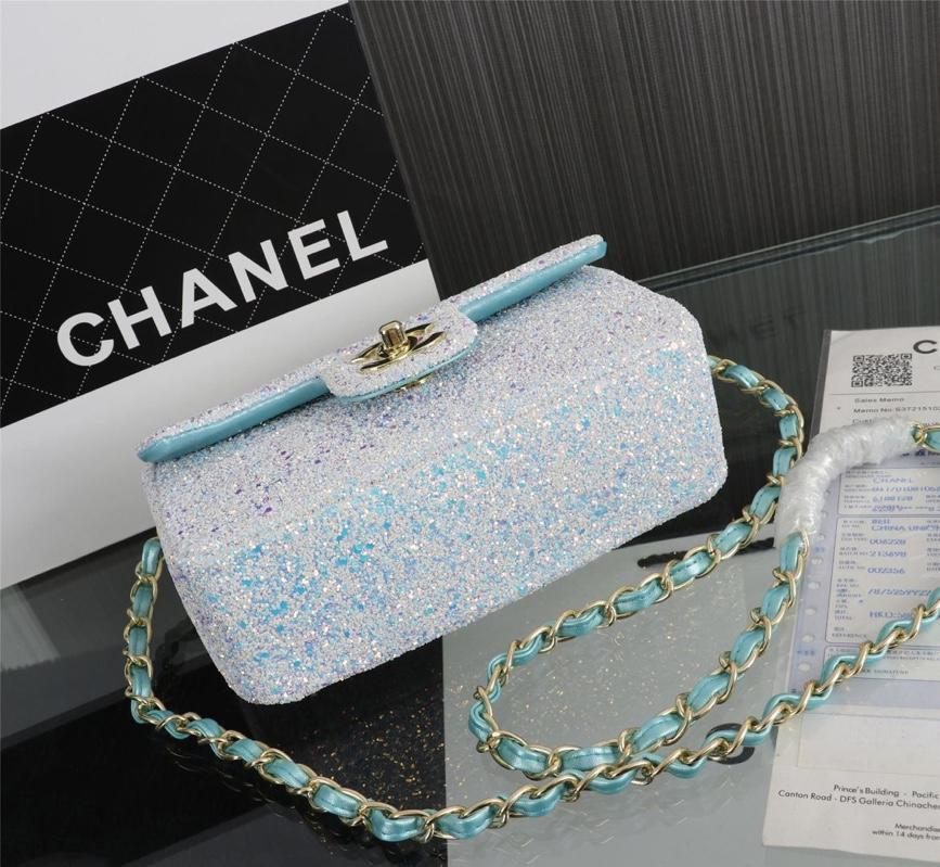 Chanel 1116 Flap Bag Sequins Gold Tone Metal White