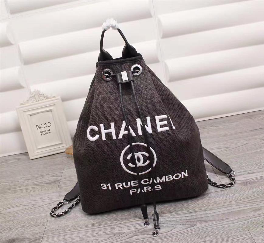 Chanel A93787 Backpack Canvas Calfskin Silver Tone Metal Black