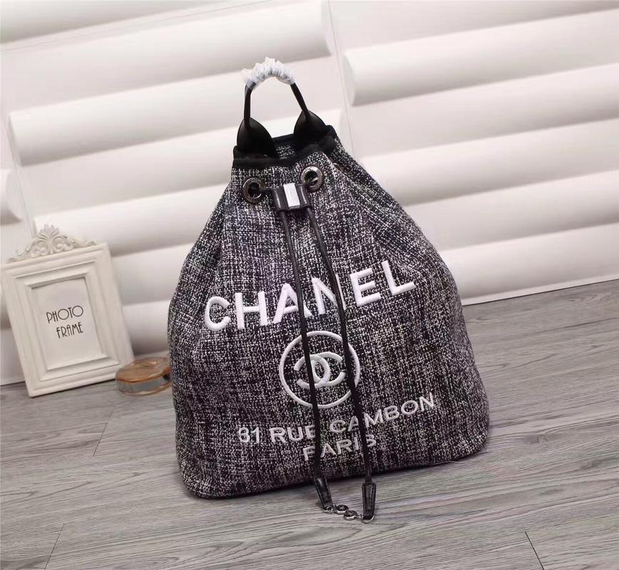 Chanel A93787 Backpack Canvas Calfskin Silver Tone Metal Gray