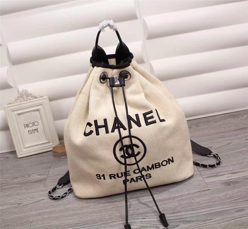 Chanel A93787 Backpack Canvas Calfskin Silver Tone Metal White